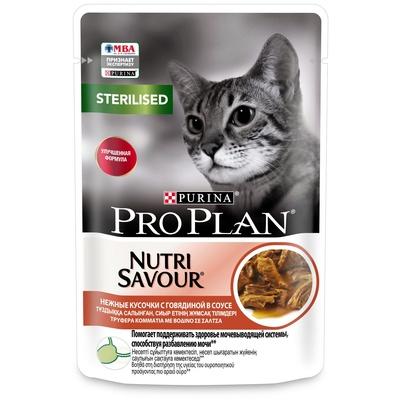 Purina Pro Plan Паучи Кусочки в соусе для кастрированных кошек с говядиной (Sterilised) 112249441/12457312, 0,085 кг
