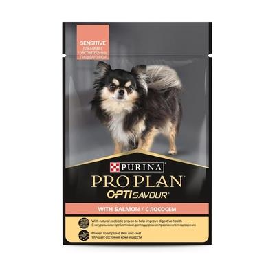 Purina Pro Plan ВИА см арт 55787 Паучи кусочки в соусе для взрослых Собак с лососем, чувствительное пищеварение 12384355, 0,100 кг, 37610