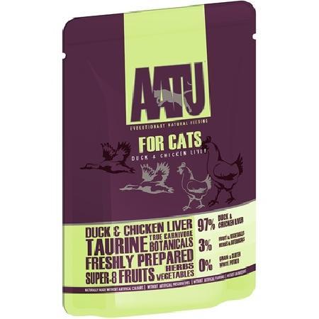 AATU Консервы ВИА Паучи для кошек Утка и Куриная Печень (AATU FOR CATS DUCK & CHICKEN LIVER) WACDC85, 0,085 кг, 20893