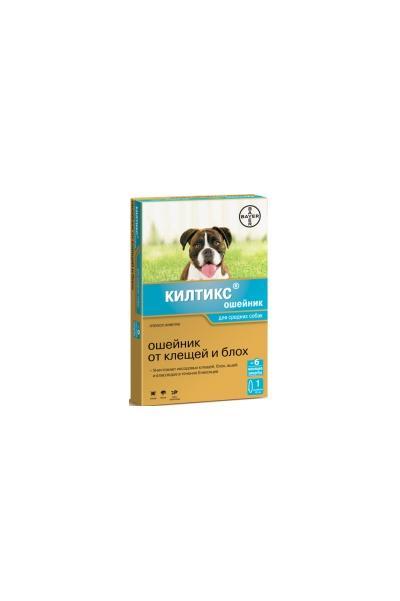 Bayer Килтикс ошейник для щенков и собак средних пород, от клещей и блох 48 см