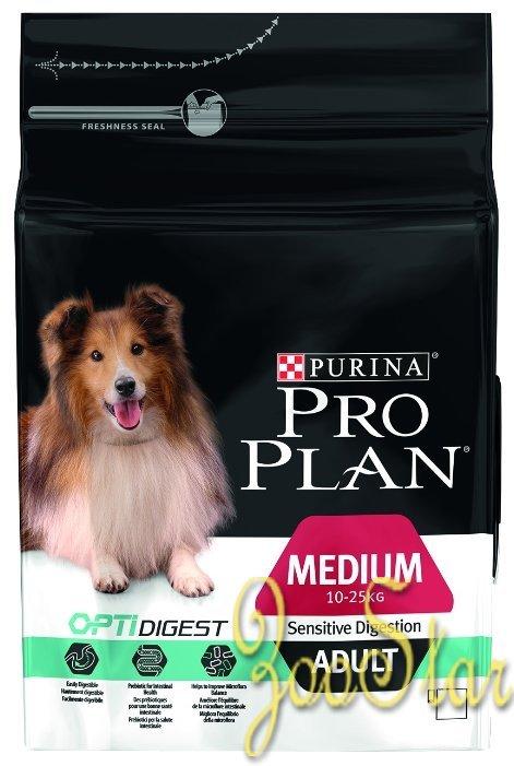 Pro Plan корм для взрослых собак средних пород, при чувствительном пищеварении, с ягненком и рисом 17 кг (14+3)