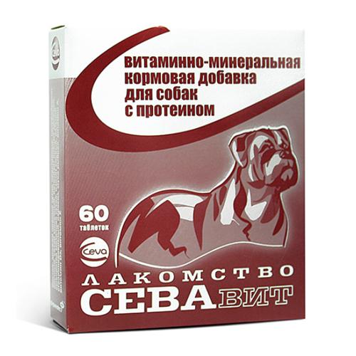 Ceva ВИА Севавит витаминно-минеральная кормовая добавка для собак с протеином 60таб 36183, 0,100 кг, 38438