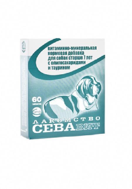 Ceva ВИА Севавит витаминно-минеральная кормовая добавка для собак старше 7 лет с олигосахаридами и таурином 60таб 36184, 0,100 кг, 38439