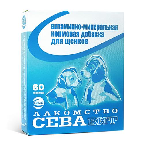 Ceva ВИА Севавит витаминно-минеральная кормовая добавка для щенков 60таб 36180, 0,100 кг, 38435