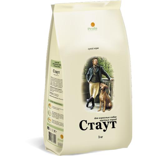 Стаут корм для взрослых собак крупных пород, цыпленок и говядина 15 кг
