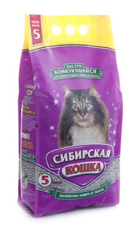 Сибирская кошка Экстра Комкующийся наполнитель для длинношерстных кошек, 5л, 5,000 кг, 26292