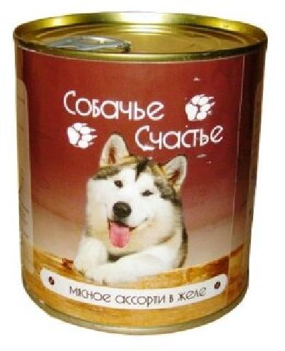 Собачье Счастье влажный корм для взрослых собак малых пород, мясное ассорти в желе 125 гр