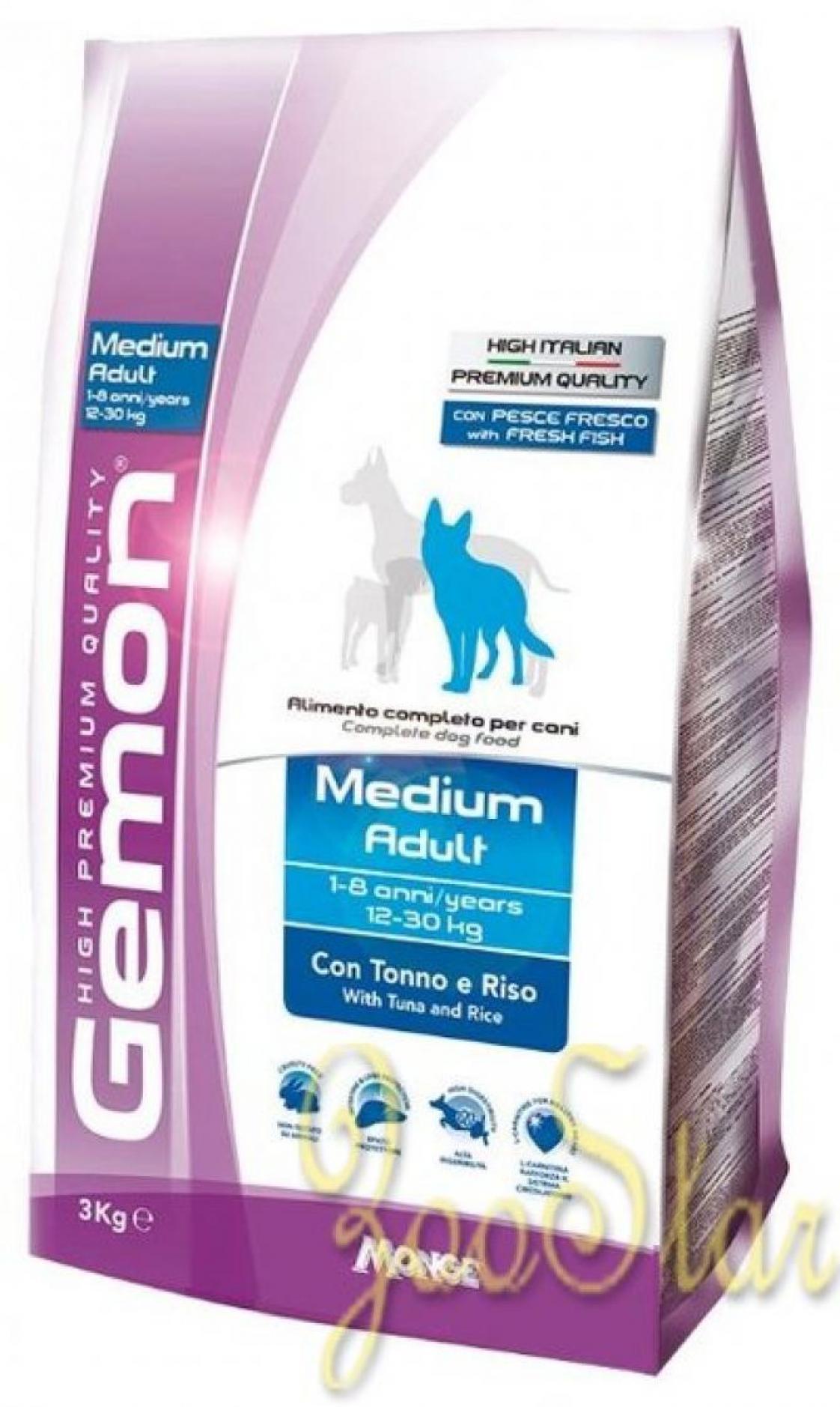 Gemon корм для взрослых собак средних пород, тунец с рисом 3 кг