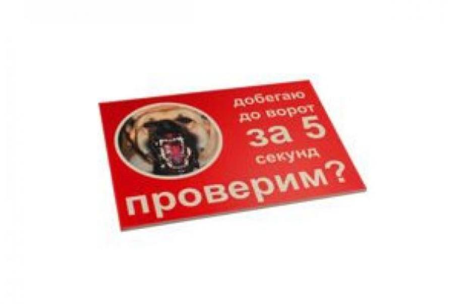 Табличка Добегаю да ворот за 5 секунд 2 вар формат А4, RP0034