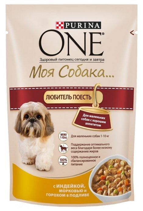 Purina One Mini влажный корм для собак малых пород, контроль веса, индейка, морковь, горох в подливе 100 гр