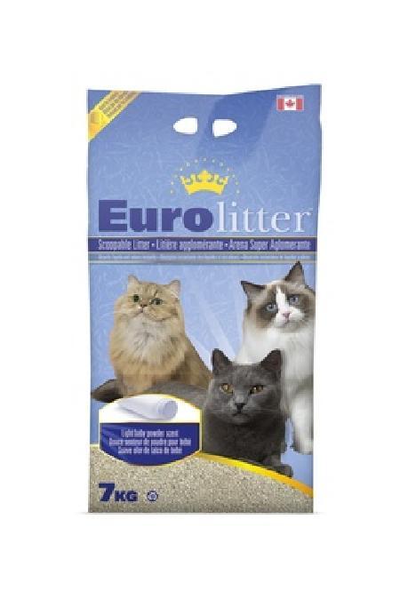 Eurolitter Комкующийся наполнитель Контроль запаха, без пыли (Dust Free) аромат детской присыпки, 7,000 кг
