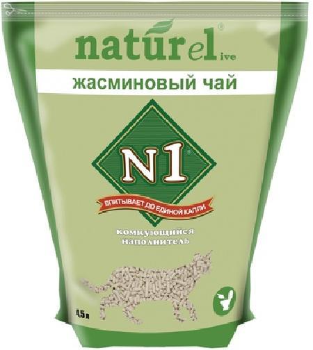 N1 Naturel 4,5л Жасминовый чай комкующийся наполнитель дерево 4,5 л