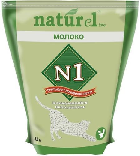 N1 Комкующийся наполнитель Naturel Молоко на 4,5л, 1,800 кг, 36105