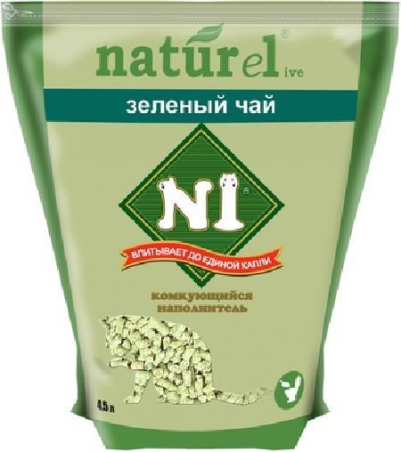 N1 комкующийся древесный наполнитель, зеленый чай 17,5 л