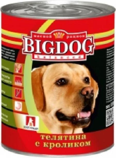 Зоогурман Big Dog влажный корм для взрослых собак средних и крупных пород, телятина и кролик 850 гр