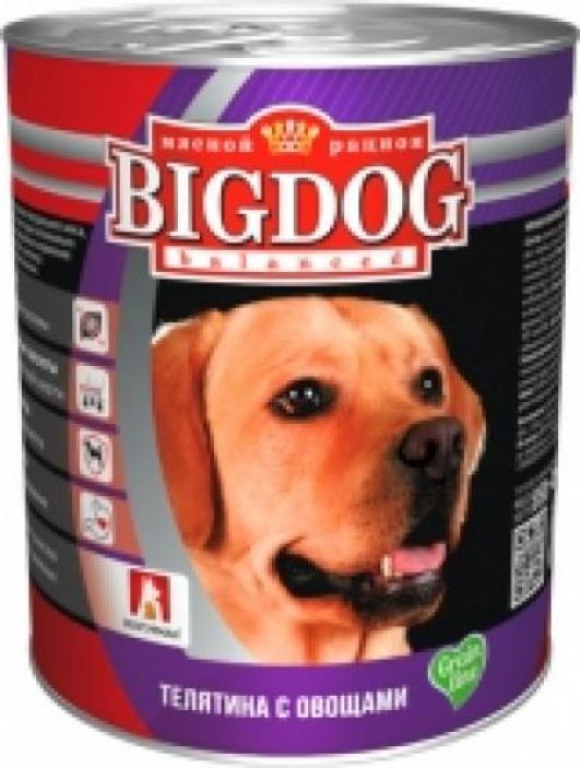 Зоогурман Big Dog влажный корм для взрослых собак средних и крупных пород, телятина и овощи 850 гр