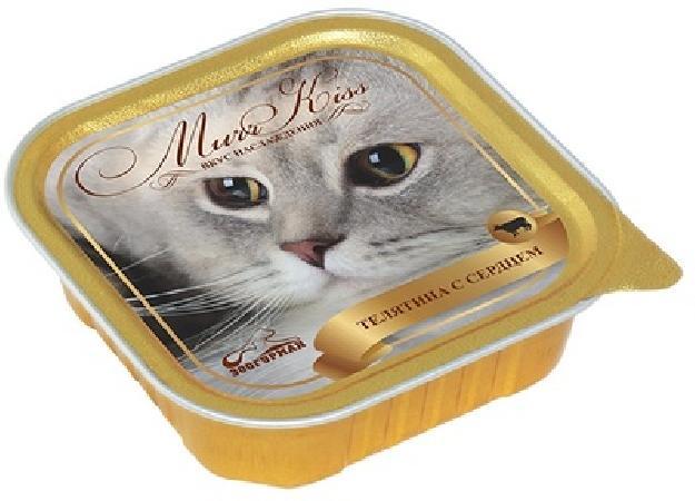 Зоогурман МуррКисс влажный корм для взрослых кошек всех пород, телятина и сердце 100 гр