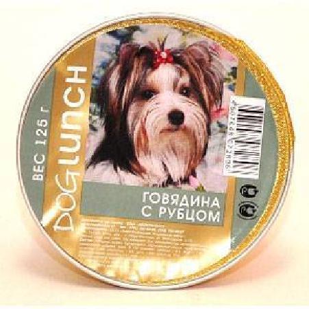 Dog Lunch влажный корм для взрослых собак, крем-суфле говядина с рубцом 125 гр