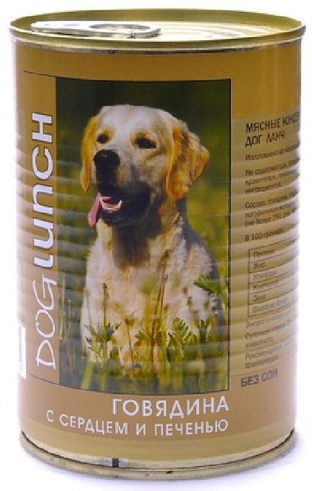 Dog Lunch влажный корм для взрослых собак, говядина с сердцем и печенью в желе 750 гр