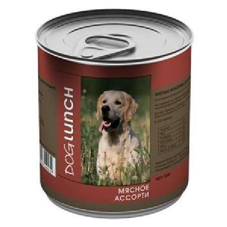 Dog Lunch влажный корм для взрослых собак, мясное ассорти в желе 750 гр