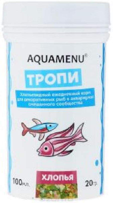 Корм ежедневный AQUAMENU Тропи 100 мл, хлопья для аквариумов смешанного сообщества.
