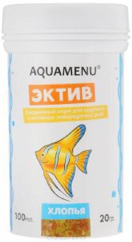 Корм ежедневный AQUAMENU Эктив 100 мл, хлопья для крупных и активных рыб