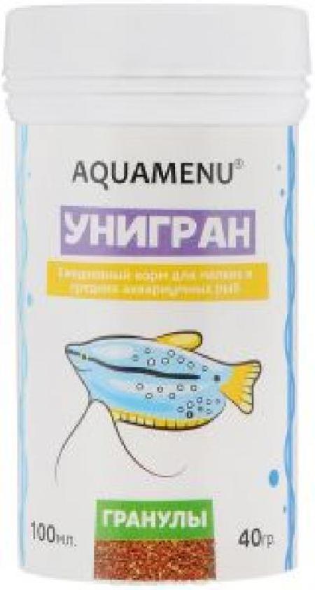 Корм ежедневный AQUAMENU Унигран 100 мл, гранулы для мелких и средних аквариумных рыб
