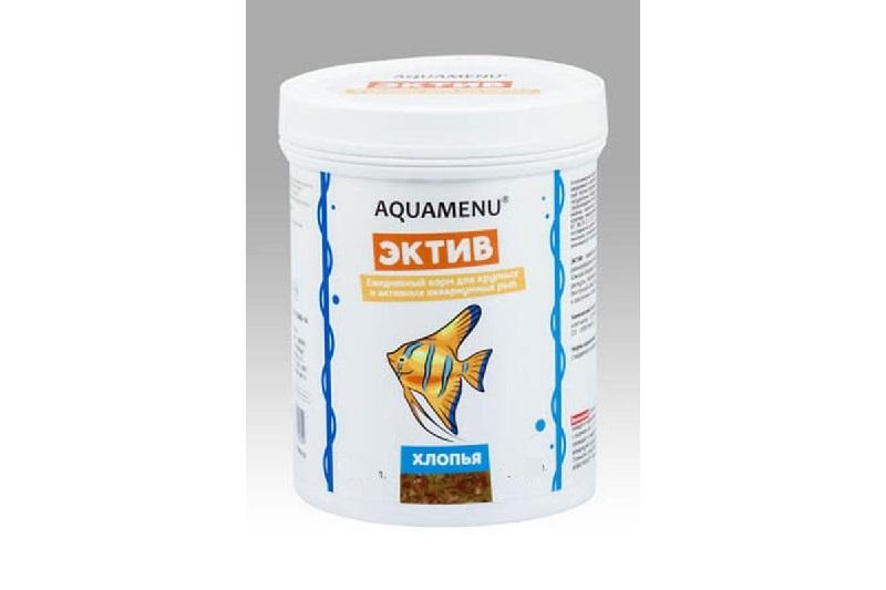 Корм ежедневный AQUAMENU Эктив 250 мл, хлопья для крупных и активных рыб