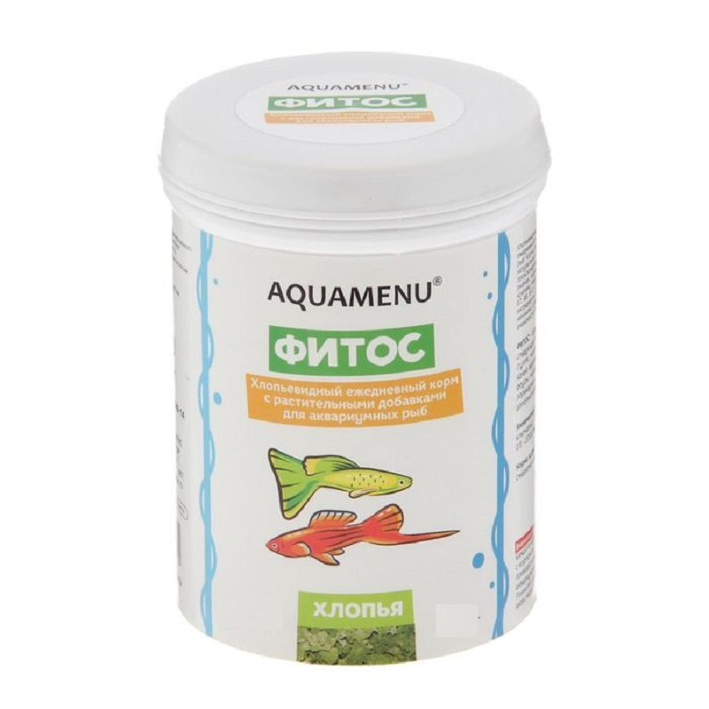 Корм ежедневный AQUAMENU Фитос 250 мл, хлопья с растительными добавками