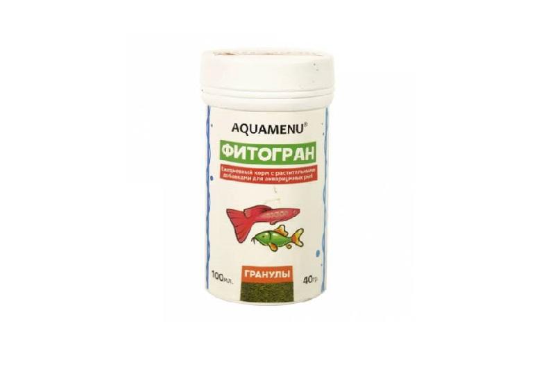 Корм с растительными добавками AQUAMENU Фитогран 250 мл, гранулы для мелких и средних аквариумных рыб