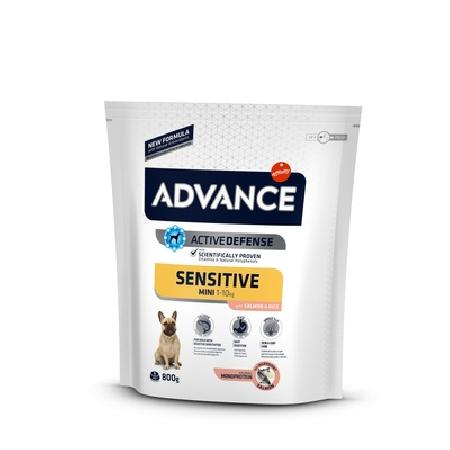 Advance корм для взрослых собак малых пород, чувствительное пищеварение, лосось и рис 800 гр