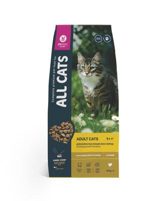 All Cats Акция 13 кг +2 кг в подарок Корм сухой для взрослых кошек  с курицей 52 AL 942, 15,000 кг, 53205