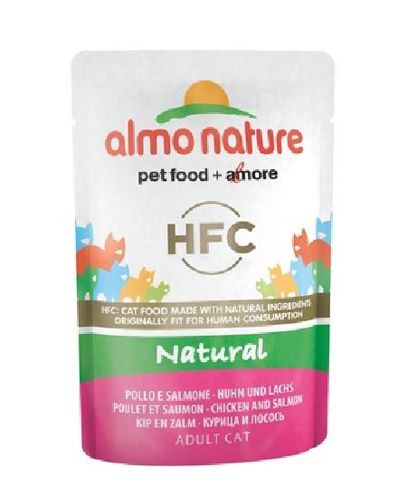 Almo Nature Паучи для Кошек с Курицей и Лососем (HFC - Natural - Chicken and Salmon) 5803, 0,055 кг, 20056