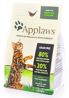 Applaws корм для взрослых кошек всех пород, беззерновой, курица и ягненок 400 гр