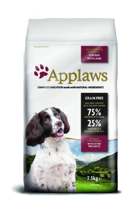 Applaws корм для взрослых собак малых и средних пород, беззерновой, курица, ягненок и овощи 7,5 кг