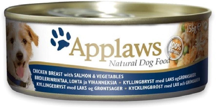 Applaws влажный корм для взрослых собак всех пород, курица, лосось и овощи 156 гр