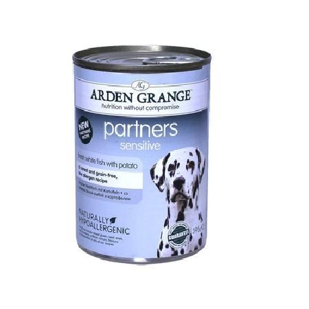 Arden Grange влажный корм для взрослых собак всех пород, белая рыба и картофель 395 гр