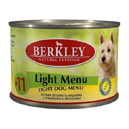 Berkley влажный корм для взрослых собак всех пород, легкая формула, индейка и ягненок 200 гр