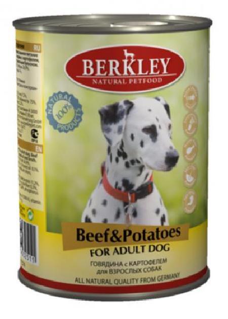 Berkley влажный корм для взрослых собак всех пород, говядина с картофелем 400 гр