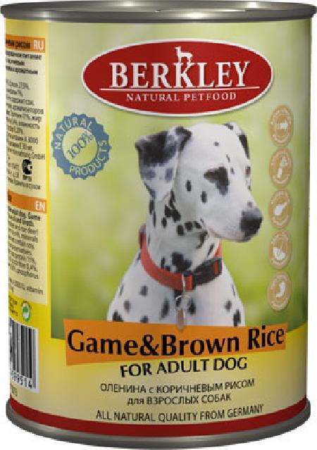 Berkley влажный корм для взрослых собак всех пород, оленина с коричневым рисом 400 гр