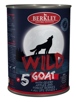 Беркли 75084 Wild кон.длЯ собак обак №5 Коза с сельдереем, яблоками и лесными ягодами 400г