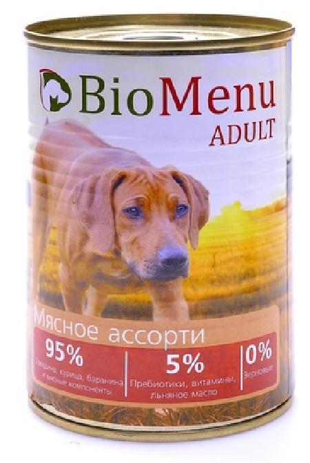 BioMenu влажный корм для собак всех пород и возрастов, мясное ассорти 410 гр