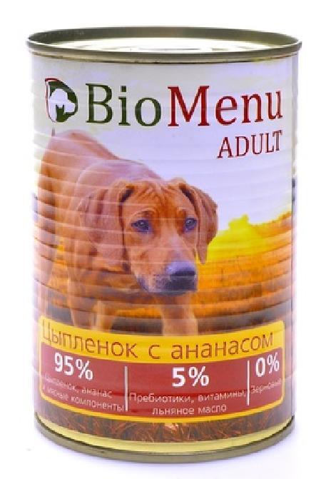 BioMenu Adult влажный корм для собак, цыпленок с ананасами, 95%-мясо 410 гр