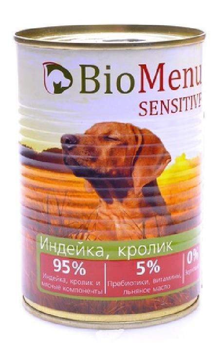 BioMenu влажный корм для собак, чувствительное пищеварение, индейка, кролик 410 гр