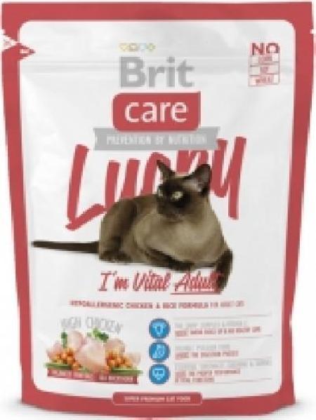 Brit Care корм для взрослых кошек всех пород, гипоаллергенный, курица и рис 400 гр