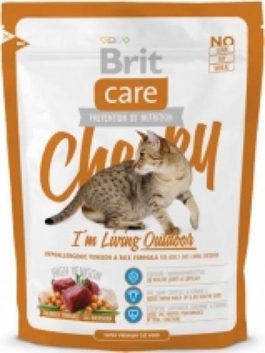 Brit Care корм для взрослых активных кошек всех пород, оленина и рис 400 гр