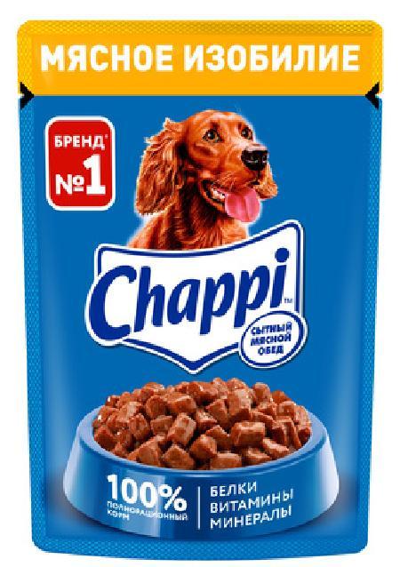 Chappi Влажный корм для собак Chappi Сытный мясной обед, Мясное изобилие, 85г 10222865, 0,085 кг