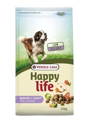 Happy Life корм для пожилых собак, контроль веса, курица 3 кг