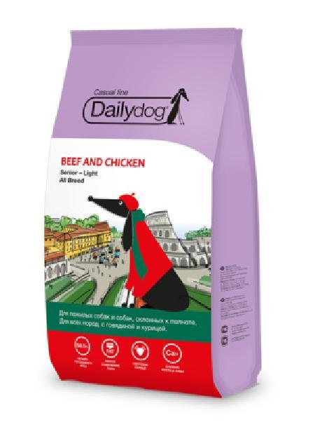 DailyDog Для пожилых собак и собак склонных к ожирению всех пород с говядиной и курицей 156MPS12, 12,000 кг