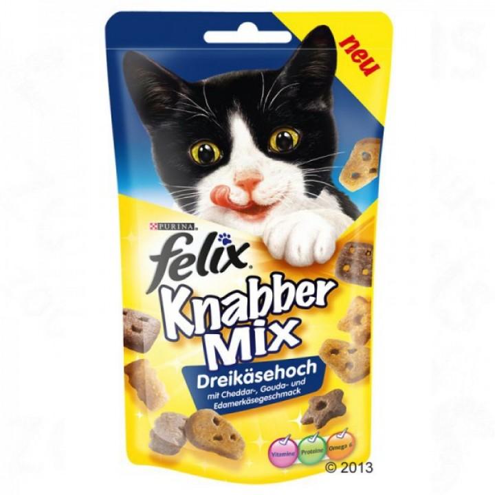 Felix лакомство для кошек всех пород и возрастов, сырный микс (чеддер, гауда, эдам) 60 гр